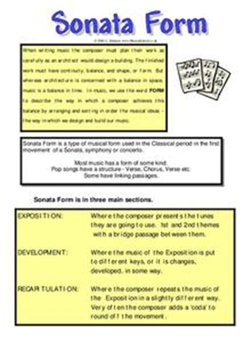 the development section of sonata form sonata form worksheet for 5th 6th grade lesson planet