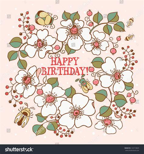 Flower Mug Card Template by Beetles Doodle Flowers Birthday Stock Vector