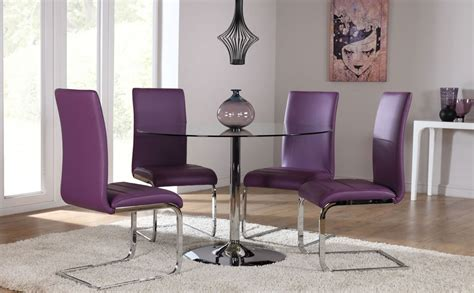 purple dining table set orbit glass chrome dining table and 4 chairs set