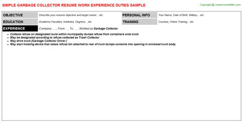 Garbage Collector Cover Letter by Garbage Collector Resumes