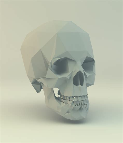 Papercraft Skull - low poly skull paper craft 3d low poly 3d
