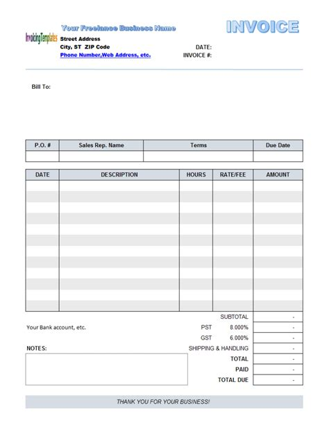 Editable Invoice Template Invoice Sle Template Fillable Invoice Template Word