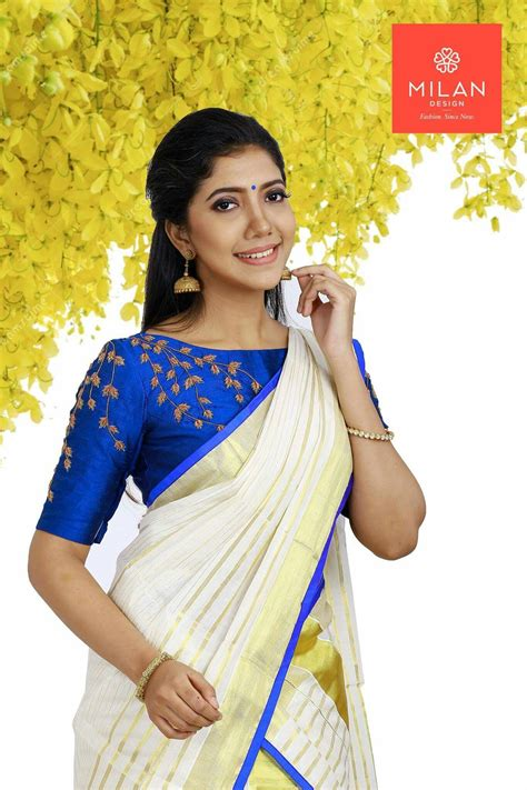 High Neck Blouse With Kerala Saree by Pin By Jasna Sudhan On Kerala Saree Blouse