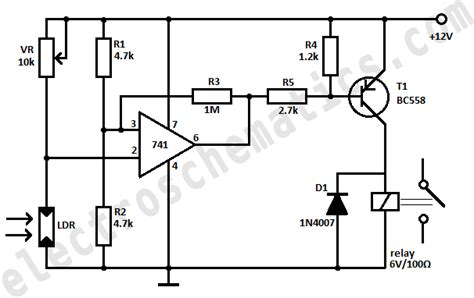 photoresistor trigger 741 circuits and projects