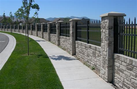 Privacy Fencing Concrete Walls With Realistic Stone Garden Wall Fencing