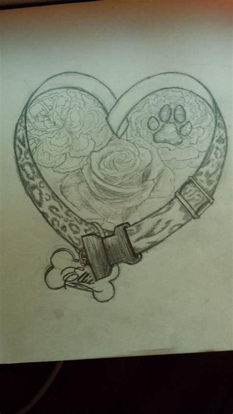 final sketch dog memorial tattoo design by nessylov3