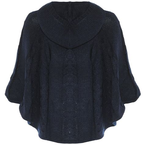knit cape knitted cable knit cape poncho hooded toggle jumper