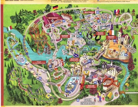 Busch Gardens Virgina by Busch Gardens Williamsburg 2004 Park Map