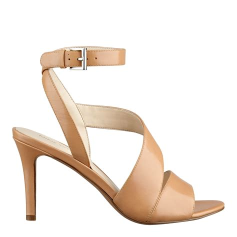Heals Stap Beige nine west ibby ankle heels in beige leather lyst