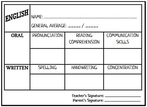 esl report card template enjoy teaching report card template