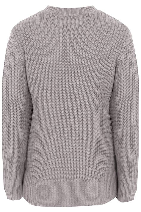 limited collection dove grey chunky knitted distressed jumper with choker neck plus