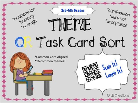 theme in literature songs literature and task cards qr activity theme task card game 3rd 4th 5th grades
