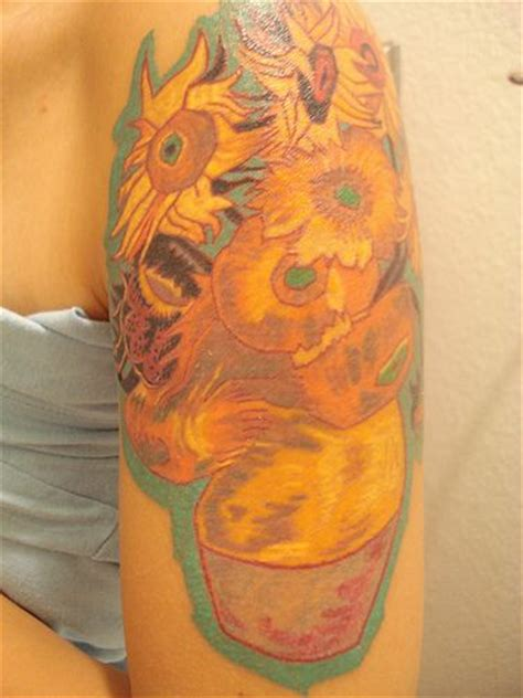 van gogh sunflower tattoo sci 8 amazing tattoos of paintings
