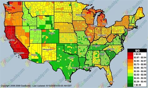 map of us gas prices the united states map of higher gas prices