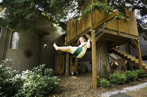 tree house swing tree house with swing rustic kids portland by yes