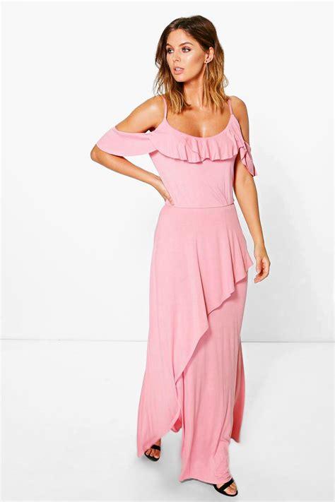 boohoo womens ruffle cold shoulder maxi dress ebay