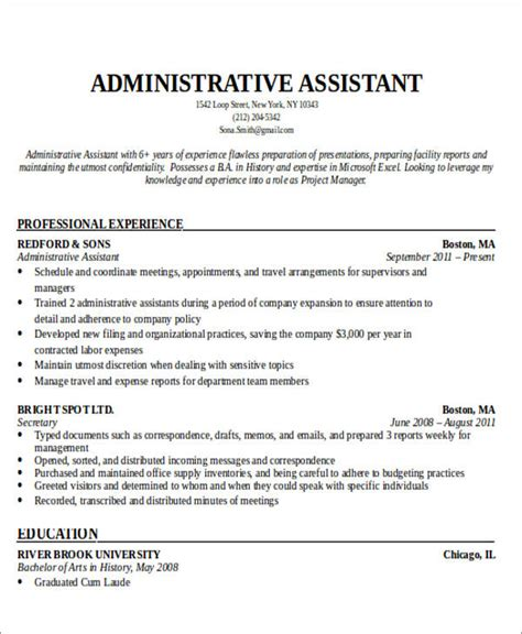 Administrative Assistant Resume Objective Exles by Administrative Assistant Resume Objective 6 Exles In Word Pdf