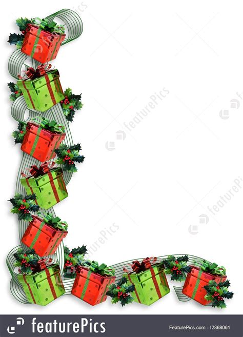 Templates: Christmas Border Gifts And Holly - Stock ... Free Clip Art Christmas Words