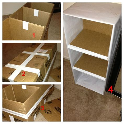 diy 3 tier shelf from cardboard boxes creative