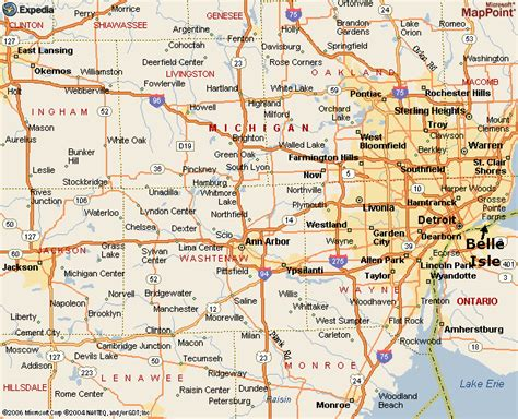 printable road map of detroit map of southeastern michigan my blog