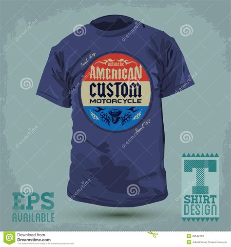 Custom Graphic Tshirt Time Maurice american custom motorcycle badge stock photo image 36642110