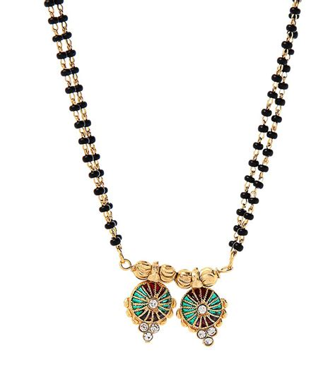 traditional mangalsutra with black goldnera green traditional mangalsutra with black