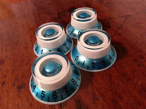 Custom Strat Knobs by Jat Custom Guitar Parts Top Hat Knobs Blue Metallic White