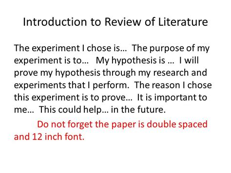Science Project Review Of Literature Exle by Science Fair Project Phase 2 Ppt