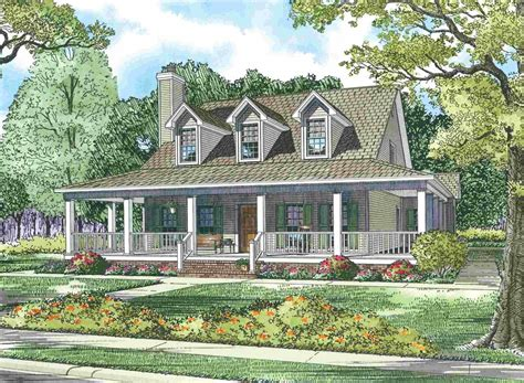 house southern farmhouse with wrap around porch