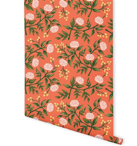 rifle paper company wallpaper peonies persimmon wallpaper by hygge west made in usa