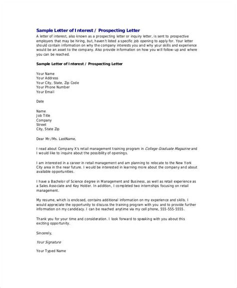 Letter Of Interest Template For A by Letter Of Interest 12 Free Sle Exle Format