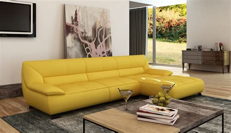 butter yellow sectional sofa divani casa 5121b modern yellow leather sectional sofa