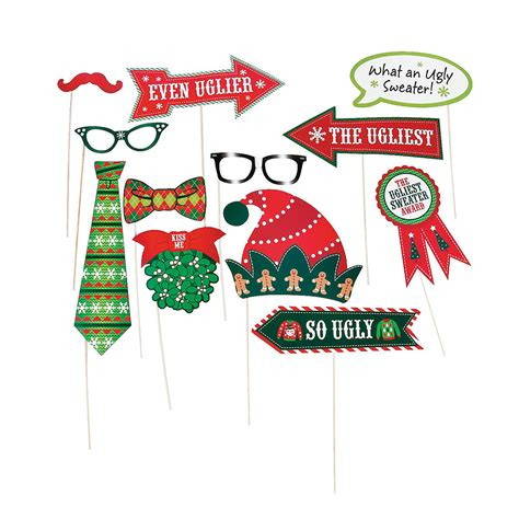 printable ugly sweater photo booth props ugly christmas sweater party photo props the ugly