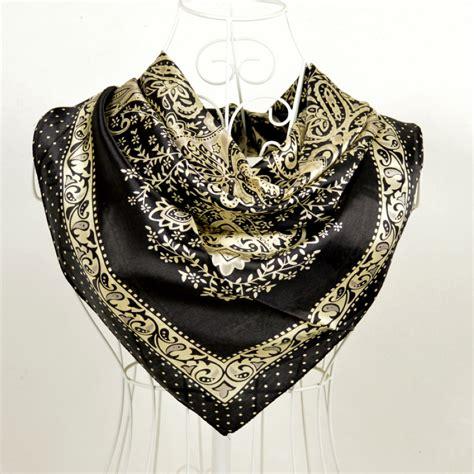 fashion accessories black gold square silk scarf