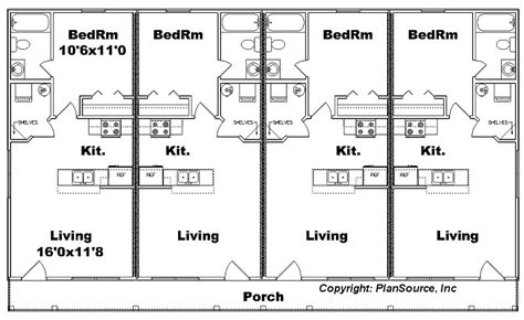 4 plex apartment floor plans apartment plan j1103 11 4 4 plex plansource inc