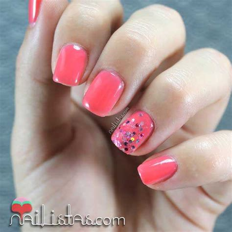 imagenes de uñas acrilicas en color coral u 241 as decoradas color coral con purpurina nail art