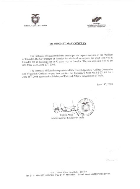 certification letter to embassy visa countries