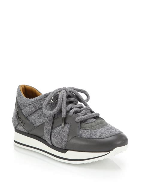 jimmy choo sneakers lyst jimmy choo felt leather suede sneakers in