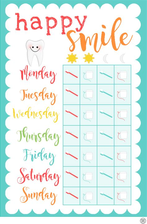 printable chart  kid cavity fighters making