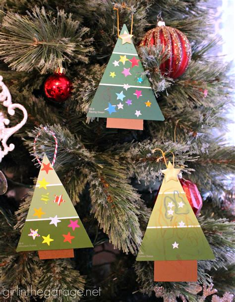 homemade christmas tree decorations easy paint chip christmas tree ornament girl in the garage 174