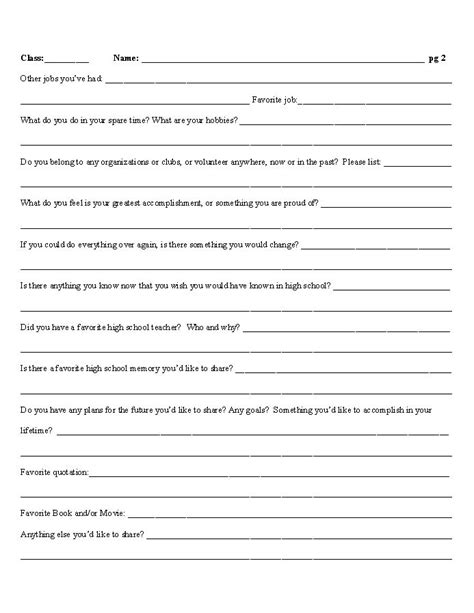 High School Reunion Questionnaire Posted By Lisa Dragoo At 7 45 Pm School Reunion Free Family Reunion Survey Templates