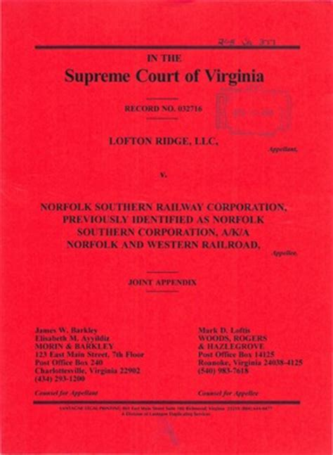 Court Records Virginia Virginia Supreme Court Records Volume 268 Virginia
