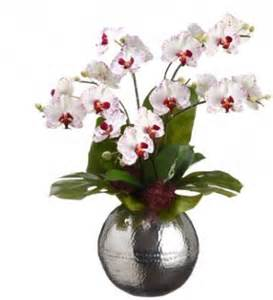 white phalaenopsis silk orchid arrangement with silver