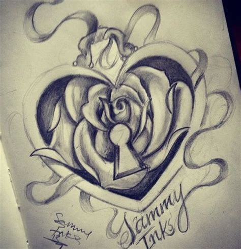 rose heart lock tattoos amp piercings pinterest