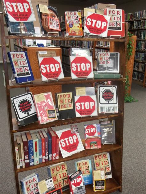 book display ideas banned book display high school library ideas