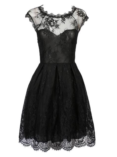 Dres Donita No 8 black sweetheart cap sleeve sheer lace overlay skater dress choies