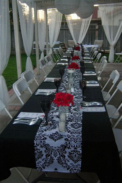 Bridal shower .black white damask and red florals