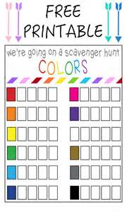 Color Suggestions Color Scavenger Hunt Free Printable Our Thrifty Ideas