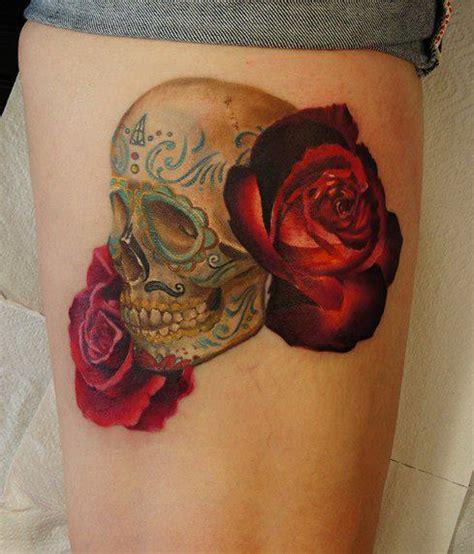 tattoo 3d rosas tatuagem caveira rosa coxa por grimmy 3d tattoo