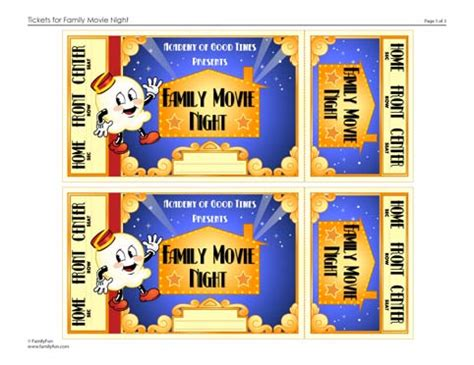 Printable Play Movie Tickets   family movie night tickets printable activity for kids